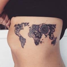 rib tattoo world map
