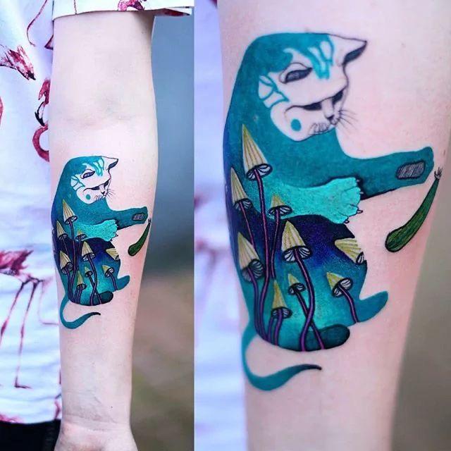 kleurige katten tatoeage