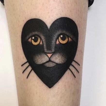 hartjes tattoo met kat