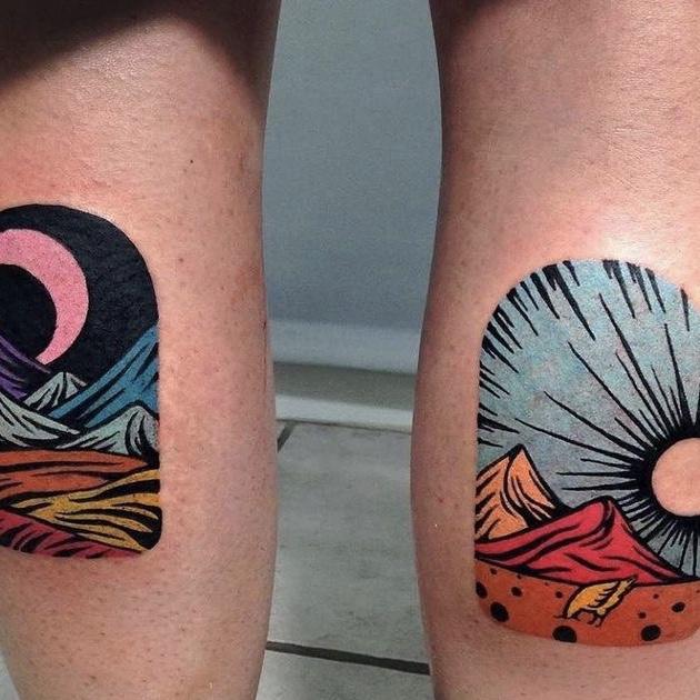 zon en maan tattoo