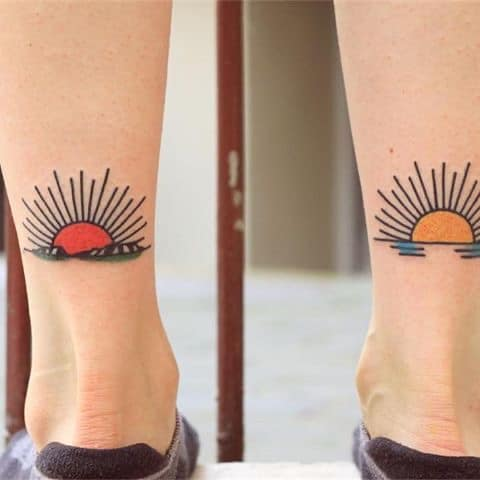 old school sun tattoo