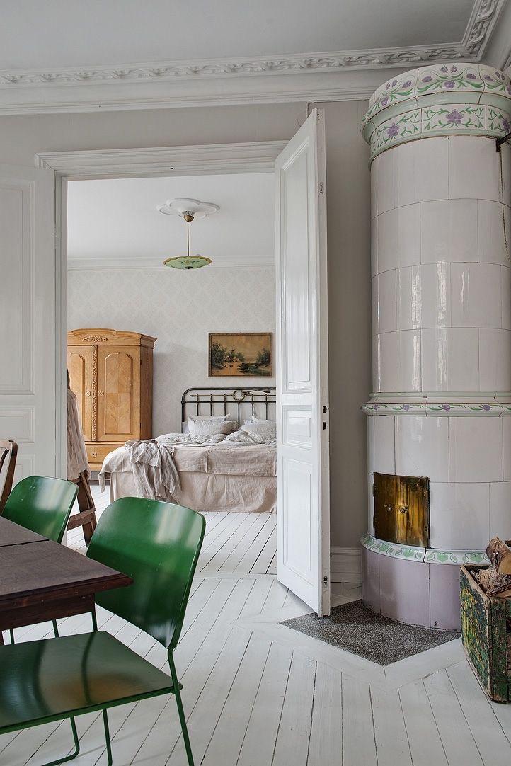 witte houten vloer