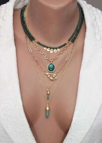 layered emerald necklaces