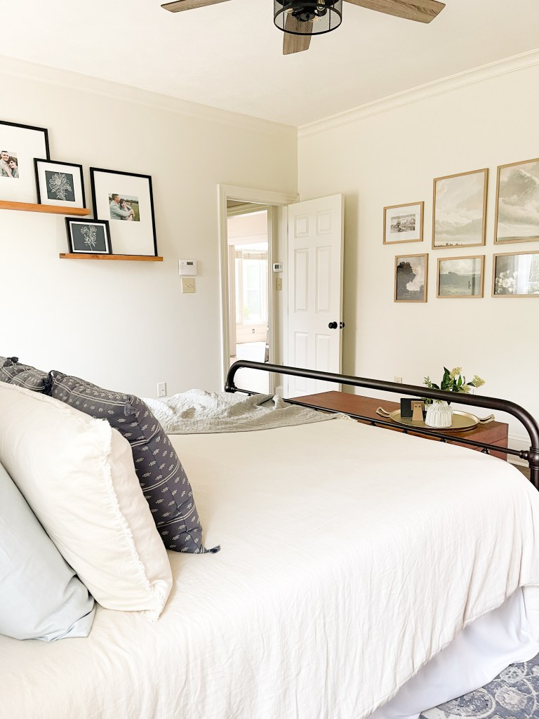 blue bedroom with white bedding