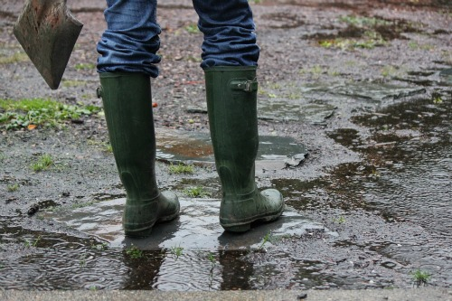 green hunter boots wellies