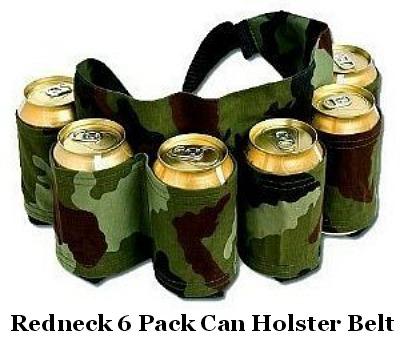 Redneck 6 Pack Beer and Soda Can Holster Belt, Camouflage