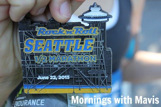 seattle tock and roll half marathon medal