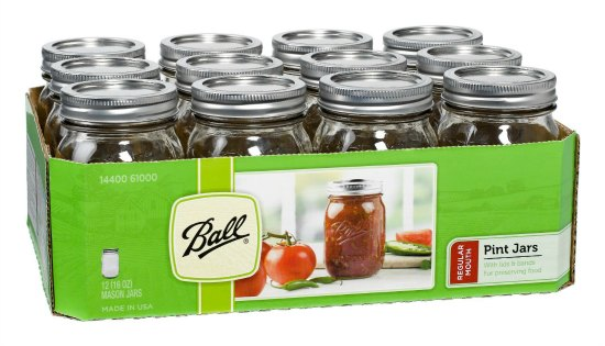 Ball Regular-Mouth Mason Jars with Lids and Bands
