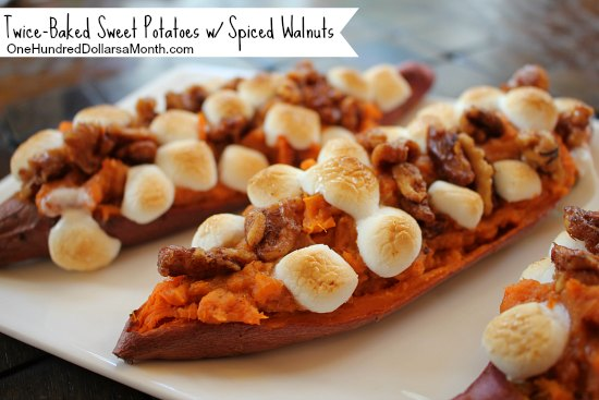 Twice-Baked Sweet Potatoes with Spiced Walnuts