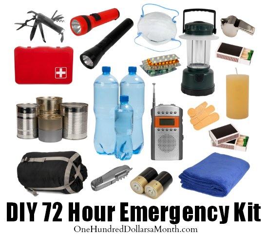 diy 72 hour emergency kit one hundred dollars a month. Black Bedroom Furniture Sets. Home Design Ideas