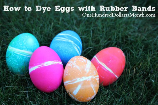 Kids Easter Crafts - Dying Eggs with Rubber Bands