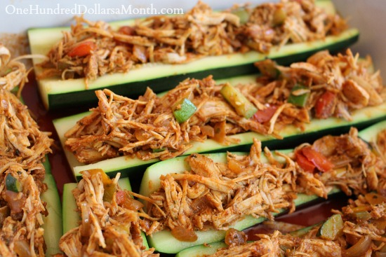 Chicken Enchilada Stuffed Zucchini Boats - One Hundred Dollars a Month