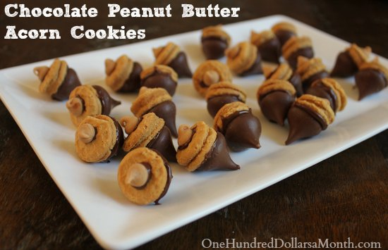 Chocolate Peanut Butter Acorn Cookies - One Hundred ...