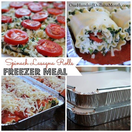 Freezer Meals - Spinach Lasagna Rolls