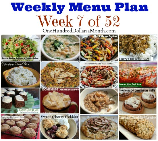 Weekly Meal Plan - Menu Plan Ideas Week 7 of 52