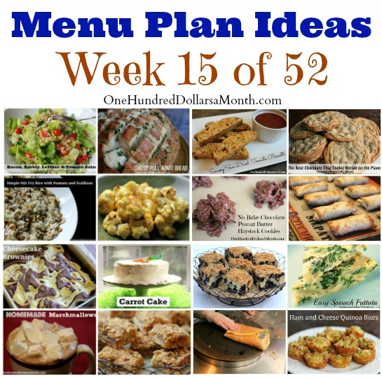 menu plan ideas weekly menus