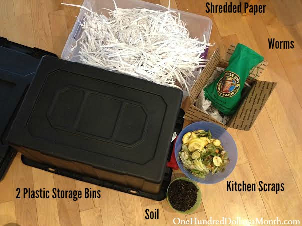 supplies needed to make a worm bin