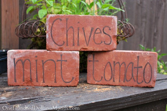 DIY Garden Markers Using Bricks