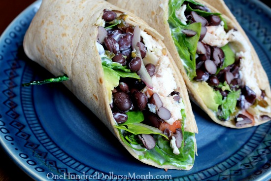 Spicy Black Bean and Avocado Chicken Wraps - One Hundred Dollars a ...