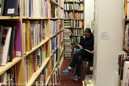 reading in a bookstore