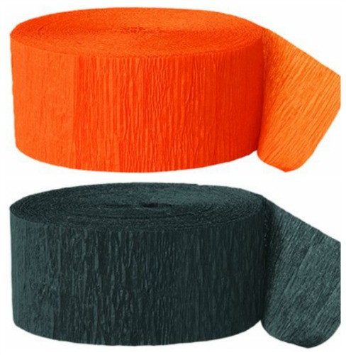 black and orange crepe paper