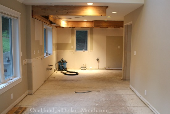 No Drywall Behind Kitchen Cabinets