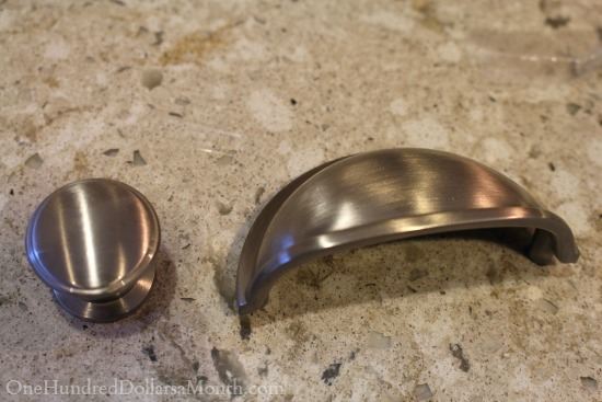 satin brushed nickle cup pulls and knobs