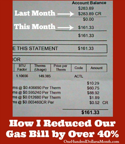 How I Reduced Our Gas Bill