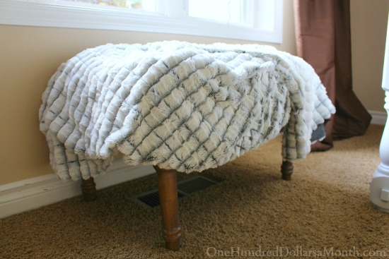 grey and white blanket