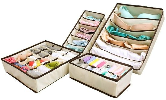 Collapsible Storage Boxes Bra Underwear Closet Organizer Drawer Divider