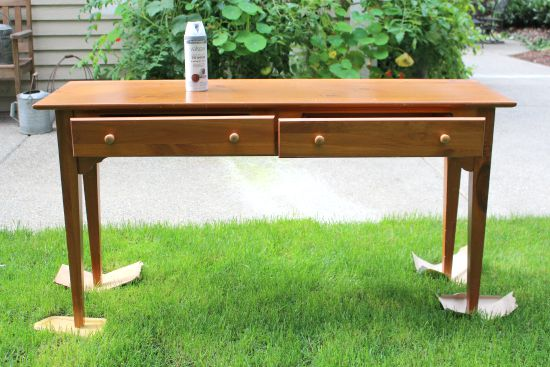 spray painting sideboard