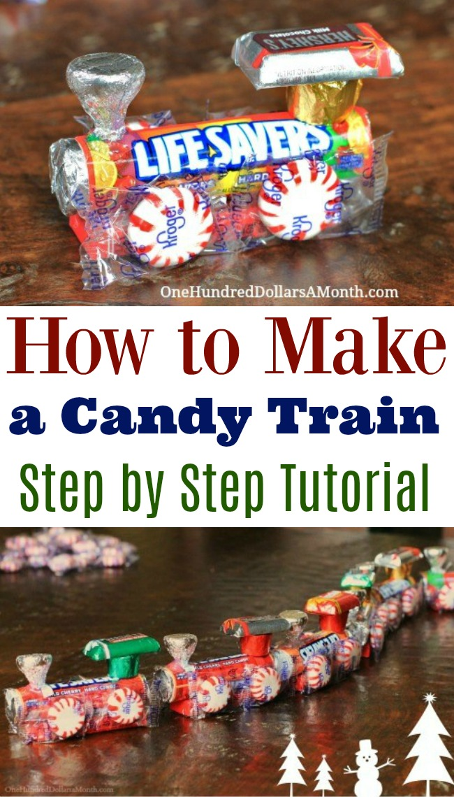 stocking stuffer idea diy christmas candy train one hundred dollars a month. Black Bedroom Furniture Sets. Home Design Ideas