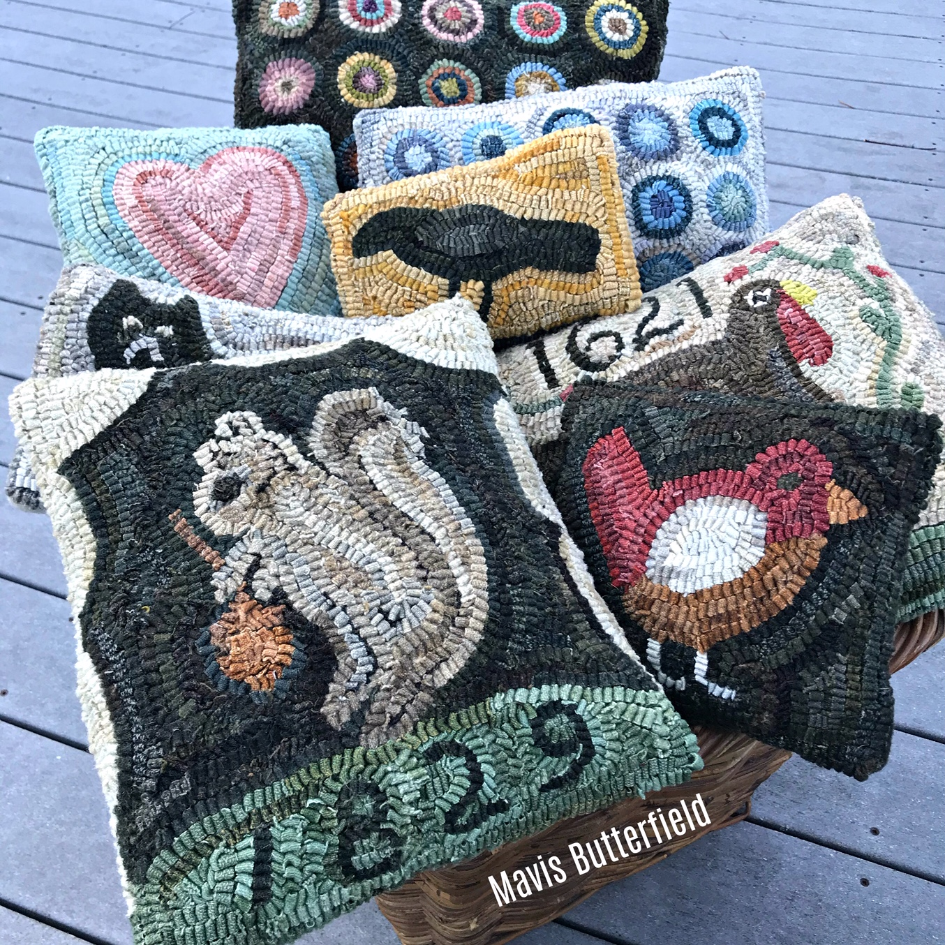wool hooked rug pillow