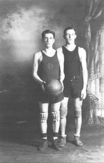 The Basketball Heroes (1927) Menzo Root (l.) and Charles French (r.) were teammates on the Oneida High School basketball team during the 1926-1927 season. Menzo, a junior, was a guard on the team while Charles, a senior, played a forward position. (Courtesy Madison County Historical Society, #86.125.4)