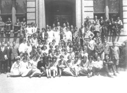 Oneida High School Sophomore Class (1926) The Sophomore Class poses in front of the Oneida High School located at 457 Main Street. It became the Junior High School in 1928, closed in 1972 and was demolished in 1973. It is now a vacant lot. (Courtesy Madison County Historical Society, #00.1366)