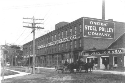 Oneida Steel Pulley Company (c. 1918) The Oneida Steel Pulley Company, located at 129 Cedar Street, was taken over by Dodge Steel Pulley Co. The building also housed A. F. Ryan and Sons for more than 35 years. The building burned down in 1972. The City is now attempting to rehabilitate the area for new construction. (Courtesy Madison County Historical Society, #00.1573)