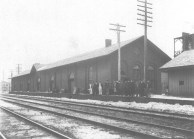 Railroad Freight House (c. 1928) The New York Central Railroad's Freight House in Oneida was located east of Main Street. This photograph was taken from the south side of the tracks. (Courtesy Madison County Historical Society)