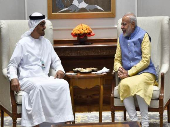 Narendra Modi in a restricted meeting with the Crown Prince of Abu Dhabi
