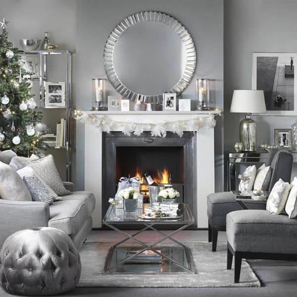 Modern Christmas Decorated Living Rooms-14-1 Kindesign