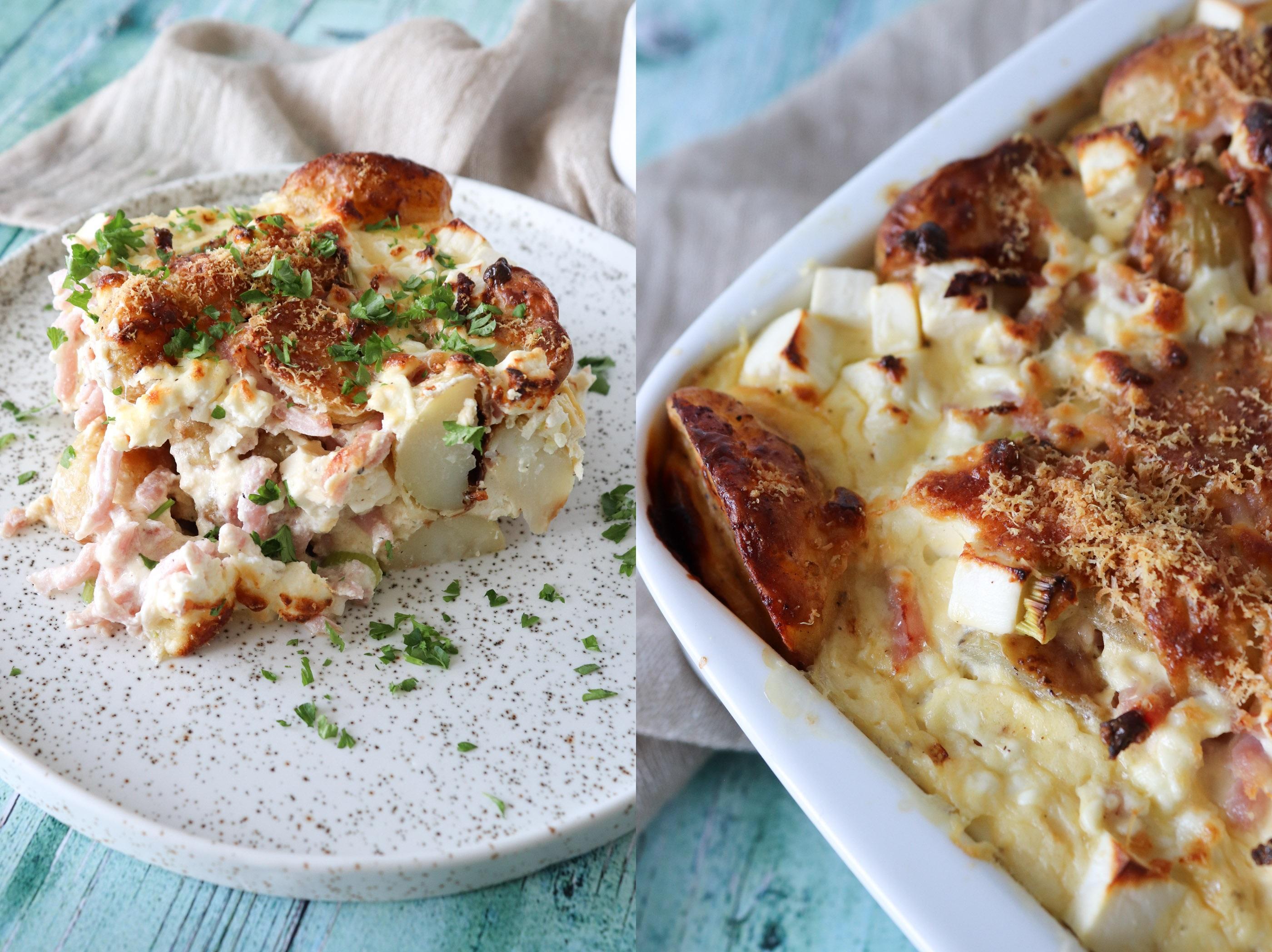 Lækkert Kartoffelfad Med Feta Og Skinke