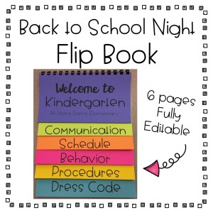 Back to School Night Flip Book