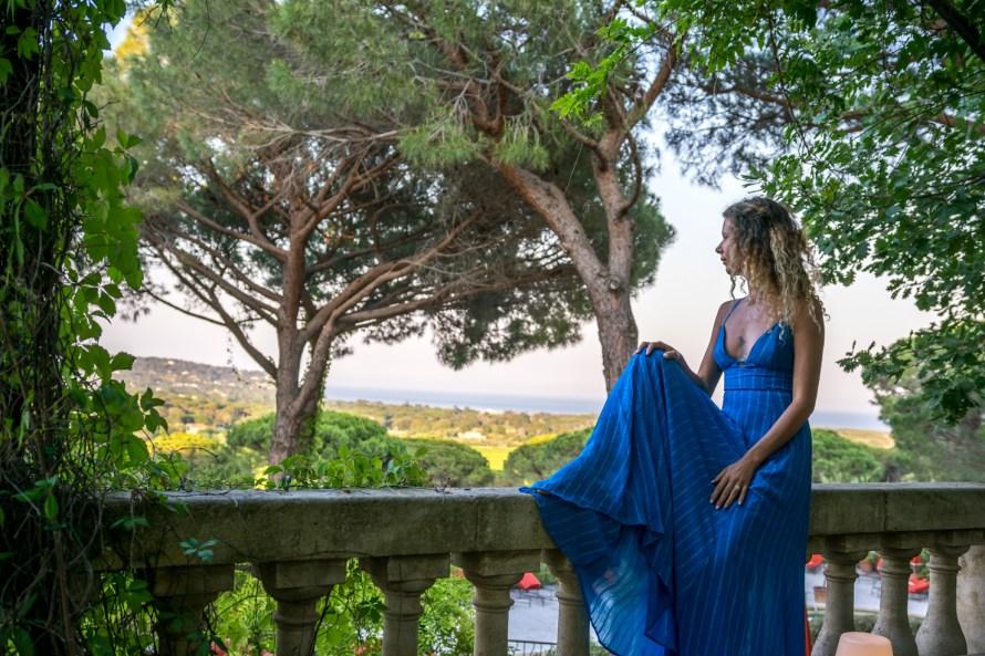 girl in blue dress at Villa Marie Saint Tropez