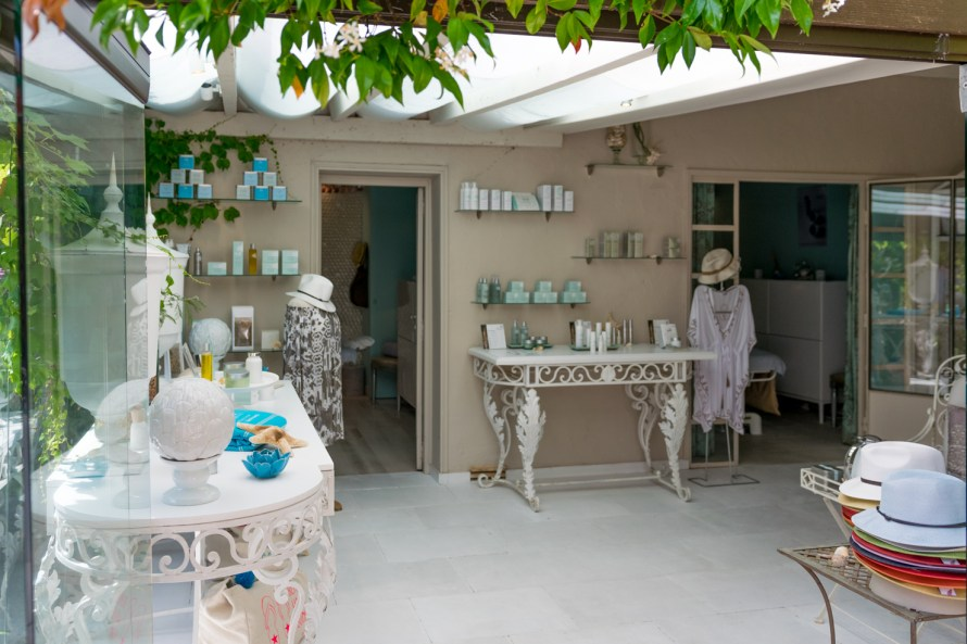 sunroom with items for sale at a spa