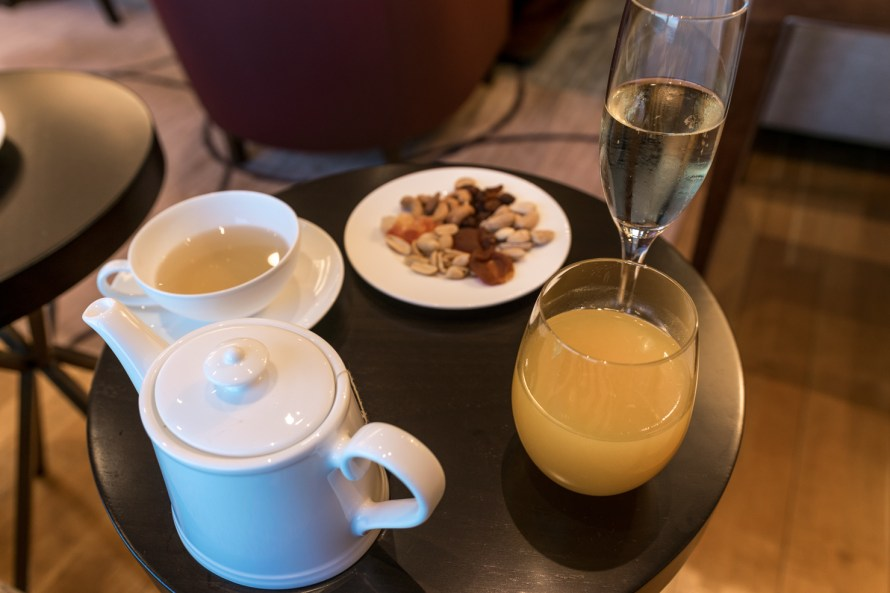 Snacks and refreshments in executive lounge at Corinthia Hotel Lisbon