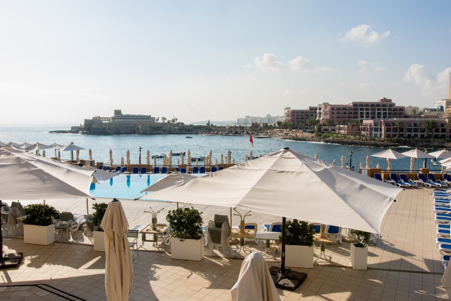 sea view and umbrellas at Corinthia Hotel St. George's Bay Malta