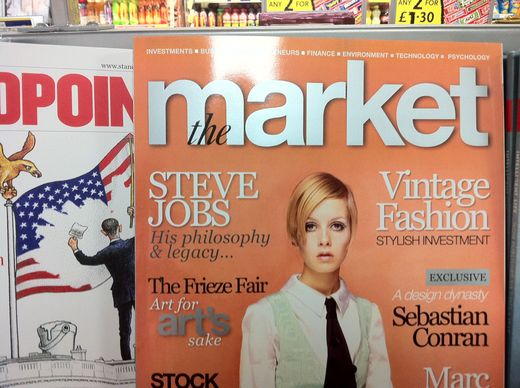A magazine whose cover lines feature Steve Jobs