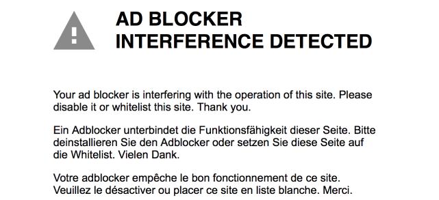 Ad Blocker Blocked