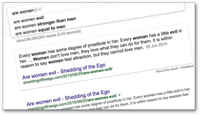 "Google discusses women's ""evil"""