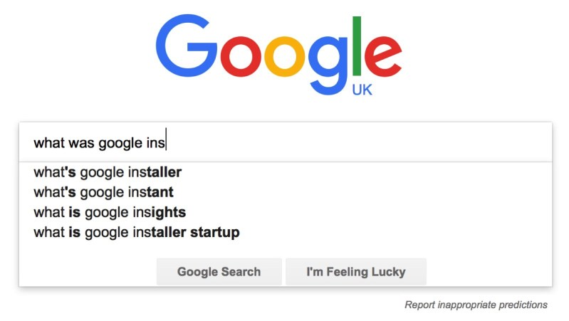 Google auto complete suggestions