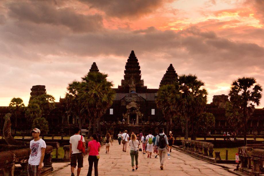 Morgens vor dem Angkor Wat